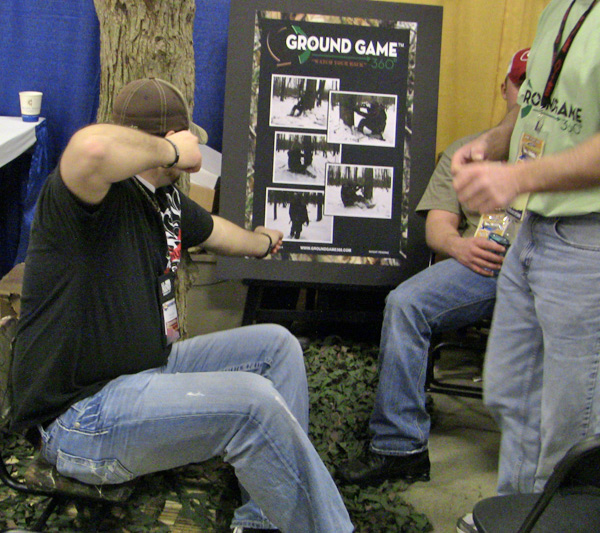 Collin Cottrell trys out the Ground Game 360 portable hunting seat.