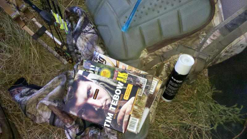 Book, Magazines, Pack, Water, Atsko Scent Protection and my trusty Alpine Bow...