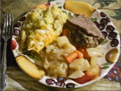 Venison or Beef Roast & Yellow Crookneck Squash Casserole