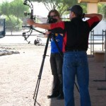 Pro shooter Bobby Vargis lines up for a 100-yard shot at a balloon with a 100-grain Swhacker.