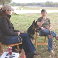 Moonlight Fund Co-Founder, Celia Belt chats with board member and wounded Soldier Adam Harris.