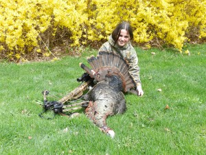Sarah with her Gobbler taken with Tenpoint Crossbow and Swhacker Crossbow Broadheads Photo Credit: Diane Hassinger