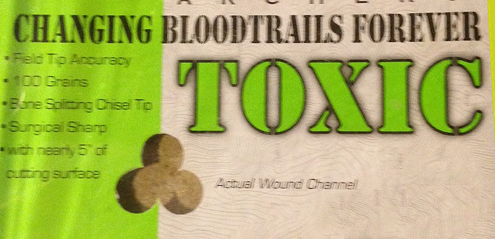 Toxic Broadhead by Flying Arrow Archery lives up to its claims as shown on their packaging, in our initial tests
