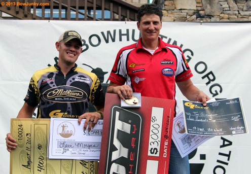 Gold Tips's Tim Gillingham wins the IBO World Title (r) while Joseph Goza, was crowned the 2013 IBO Shooter of the Year