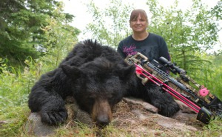 7 foot black bear taken in Saskatchewan with the new TenPoint Stealth SS Photo: Diane Hassinger