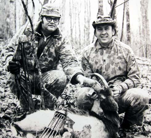 HUNTING BUDDIES -- This old b/w photo from 1971 shows Don Clark and me with a feral goat tagged the same year BOWHUNTER Magazine was first published. We shared numerous hunts over the years.
