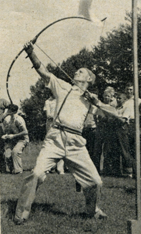 A left-handed shooter, Case demonstrates his flight shooting form during a Wisconsin tournament. He was an accomplished target archer and bowhunter.