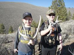 Kellen Tanner (left) and Konnar Hancock with some sheds they picked up at last weekend's 2014 Group Shed Hunt with the Oregon Shed Hunters, a group that promotes ethical shed hunting.