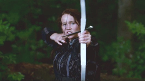 Jennifer Lawrence as Katniss Everdreen in The Hunger Games