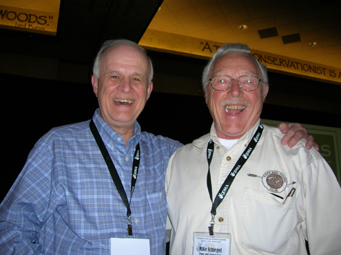 Dr. Dwight Guynn (left), retired wildlife  professor presented a great paper on the decline of applied wildlife teaching in our Universities.  Here he shares a hunting story with Mike Schlegel, Conservation Committee Chair of the Pope and Young Club.