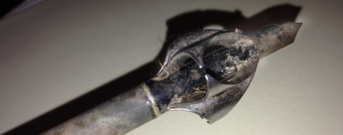 Toxic Broadhead by Flying Arrow Archery post kill is still in good shape after bringing down the huge Kansas buck