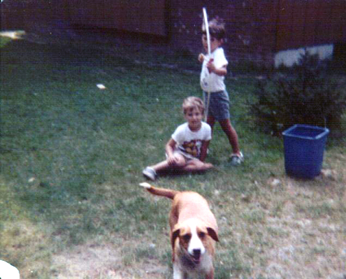 Picture of the author and his brother Scott Murray and their half beagle half basset hound Sandy... in the summer of 1980…