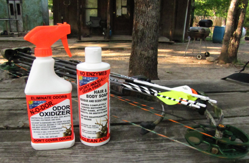 Scent suppression is a three step process. First, clean your clothes, clean your body and spray down.