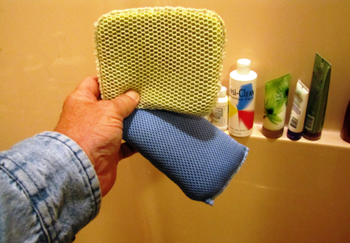 This windshield bug sponge is the key to exfoliation.