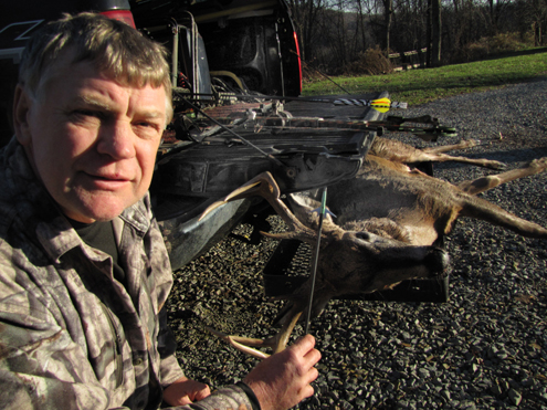 """This buck sauntered in from directly downwind of my """"Five-Way Cherry"""" stand. A Swhacker stopped him after a ten-yard dash."""
