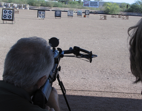 The outdoor range at PSE was a perfect place to do our testing. We had to shoot early in the AM because the heat waves mirage the target after 9 am.
