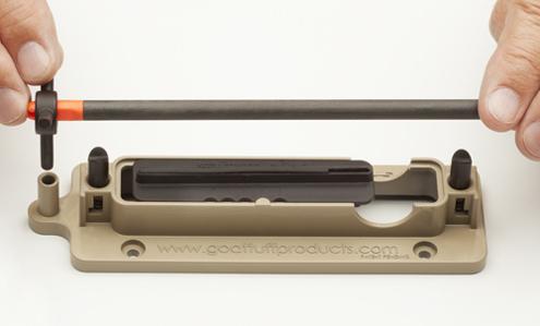 Set nock into indexer, rest shaft on V-Blocks.