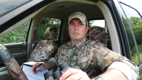 The summer months are a great time to locate a nice bachelor group of bucks. Glass fields from the safety and air conditioned comfort of a truck.