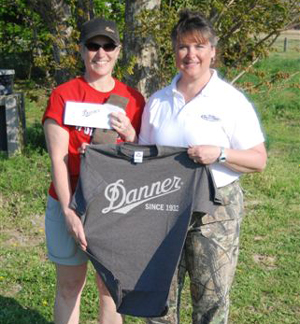 Lynne with Karen with the Danner Prize Package.  Congrats Karen.