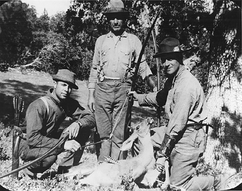 Art Young and Saxton Pope at one of their deer camps.