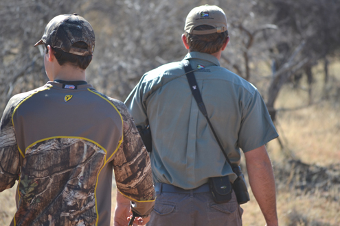 Young Wyatt and PH Johan on a spot and stalk hunt.
