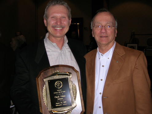 Author with another archery/bowhunting  hero at his induction in 2008, Chuck Adams.