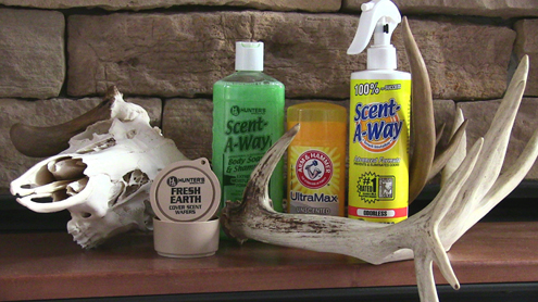 These are the products I use and trust every fall. Hunter Specialties Fresh Earth Scent Wafers, Scent A-Way Green Soap, Scent A-Way odorless scent killer and Arm and Hammer unscented deodorant.