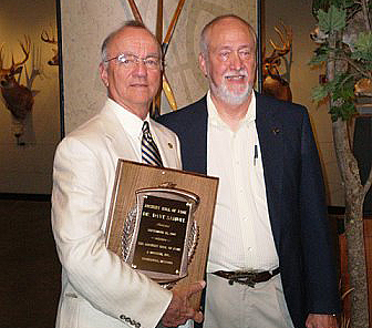 The author at his 2007 induction with Hall of Fame inductee, writer, columnist, historian and Founder, Bowhunter Magazine, M.R. James.