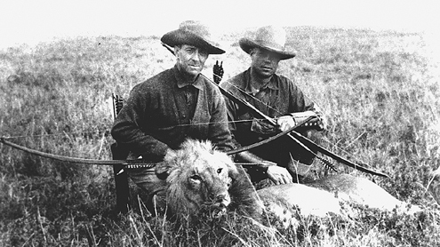 Pope and Young with a bowkilled lion.