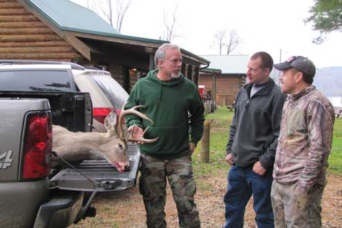 (l-r)  Carey, Matt and Bill decompress after a demanding morning of bowhunting.