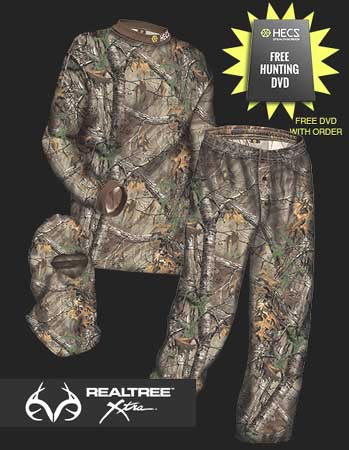 HECS 3-suits are available in Mossy Oak Break Up Infinity and Realtree Xtra with pants, shirt and facemask.
