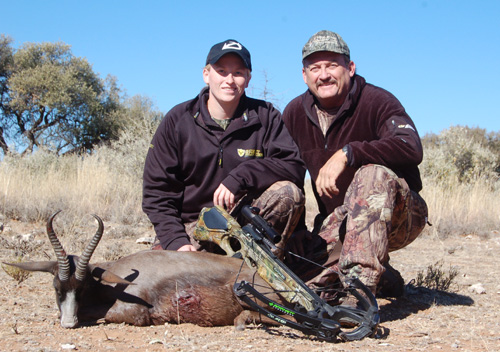 Author with number one, black springbok.