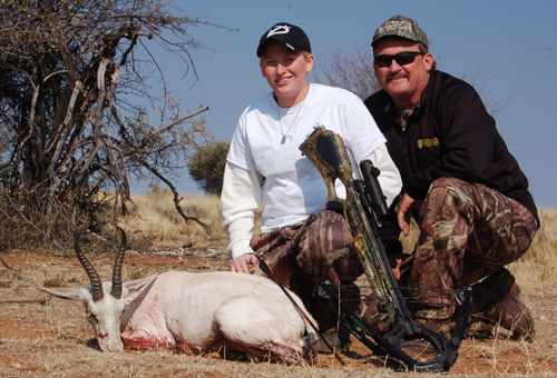 The white springbok herd was scared off but quickly returned giving the author a shot.