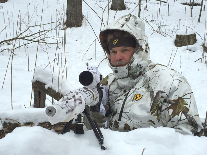 Sniper Scott waiting in position for a hungry coyote to show up.