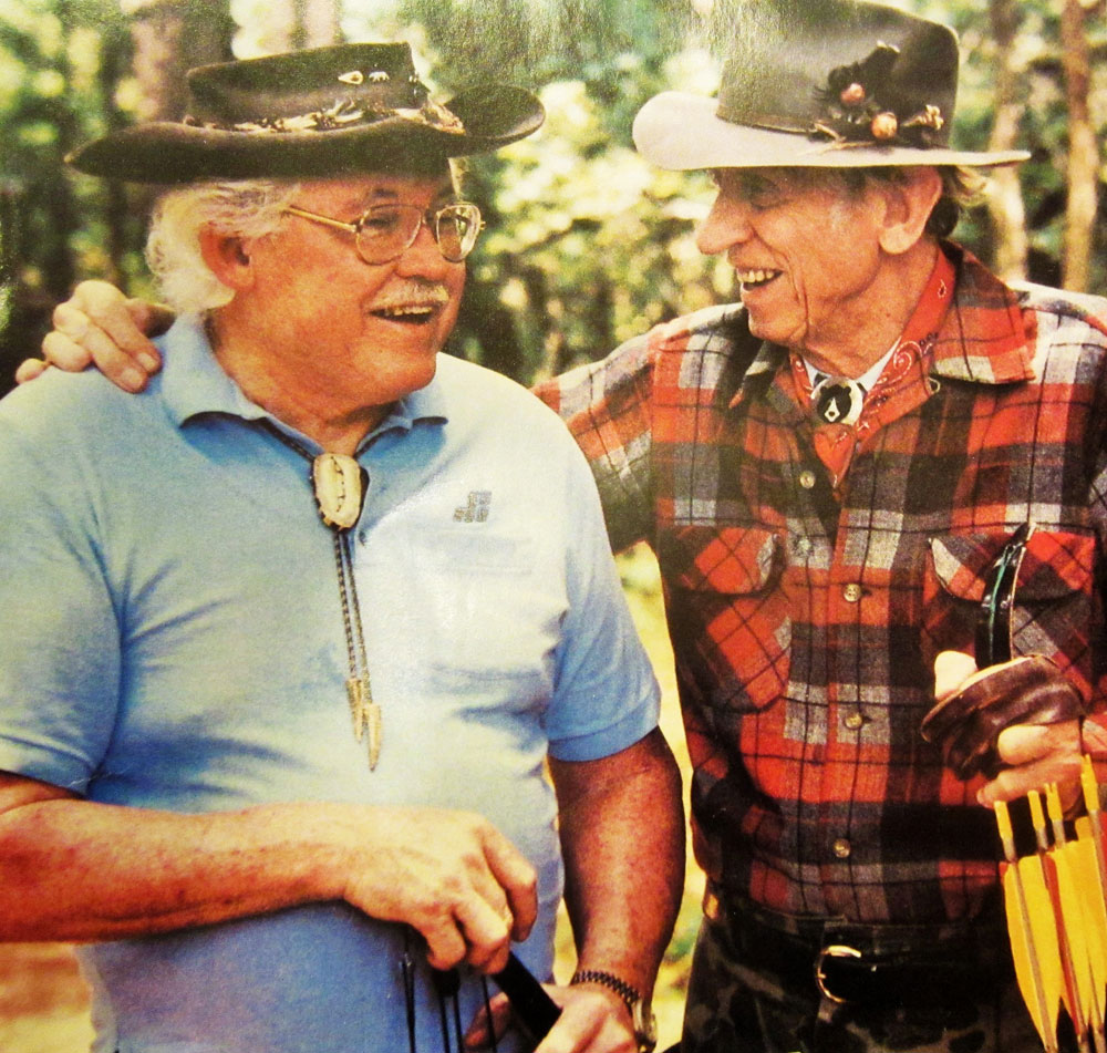 Fred Bear & Tom Jennings These are two bowhunting legends I knew well. I first met Fred Bear in '72 and worked with him and other Pope and Young officers on the Club's first record book. And about this same time I field tested a Tom Jennings (left) compound bow for a report in BOWHUNTER magazine about these increasingly popular mechanical bows.