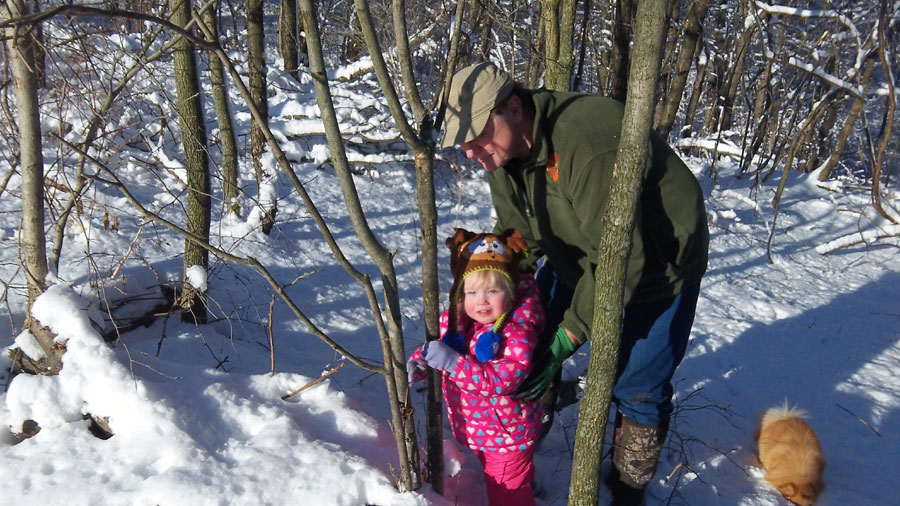Bella and Papa select a winter tree to shake. As it turns out tree shakin' is a 4-season sport.