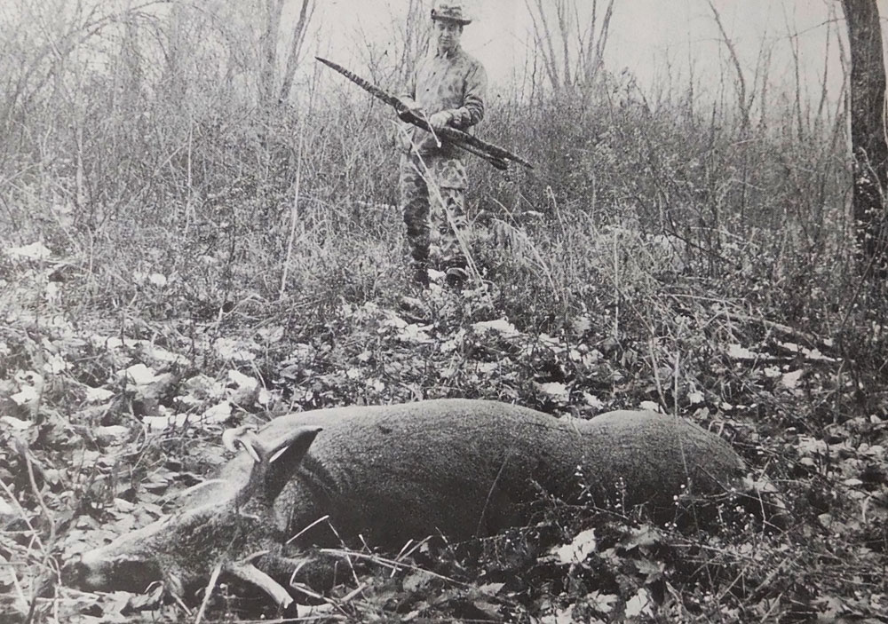 This field photo from the late 1960s captures the hunter, his young buck, and woodland terrain. It can be shown and shared with pride, unlike some graphic pics that can turn off non-hunters and be used by hunter-haters as proof bowhunters are bloodthirsty clods.