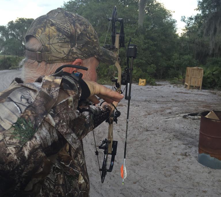 Kurt Baumgartner takes practice shots.