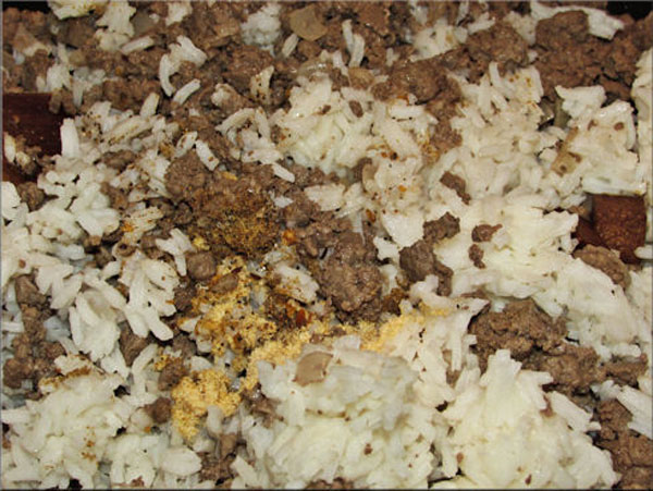 Added rice and spices (garlic powder, cumin, steak seasoning, salt and pepper).