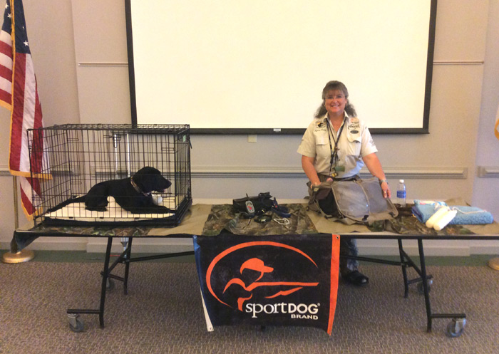 Getting ready for waterfowl seminar and demo with Lynne and Sky pup!