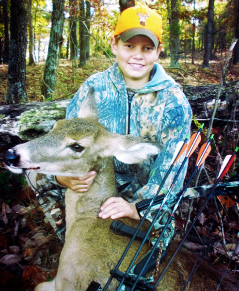 "Cody Van Winkle is out of college now but he tagged his first whitetail doe and buck on our southern Indiana farm as a young bowhunter. I was in a treestand with him when he arrowed this ""trophy"" doe as a mere kid. Helping a youthful hunter launch a hunting career makes memories that are never forgotten."