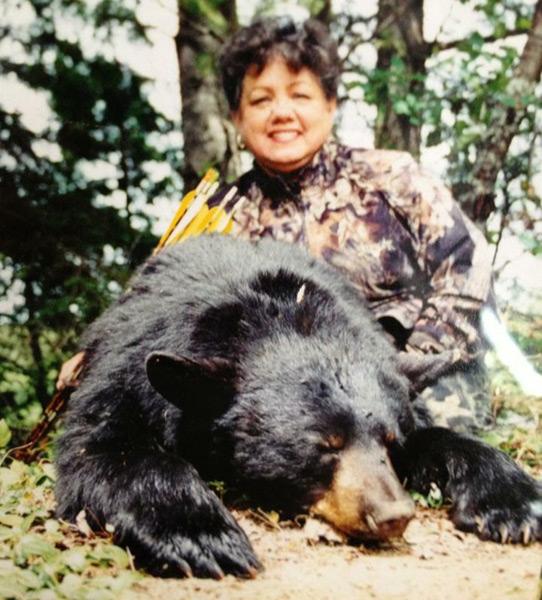 Cathy Addington with an earlier bear.