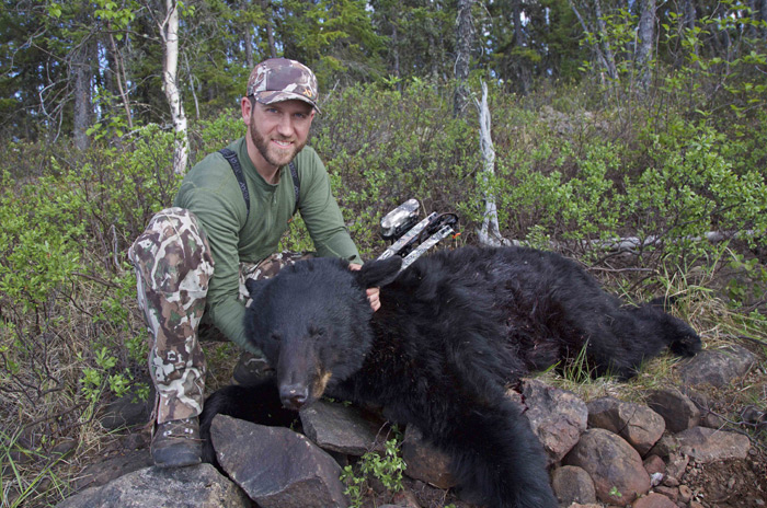 "Clay's 18 4/16"" bear taken of the first day of hunting with Kolby Morrison of Bear Pro Safaris in Saskatchewan."
