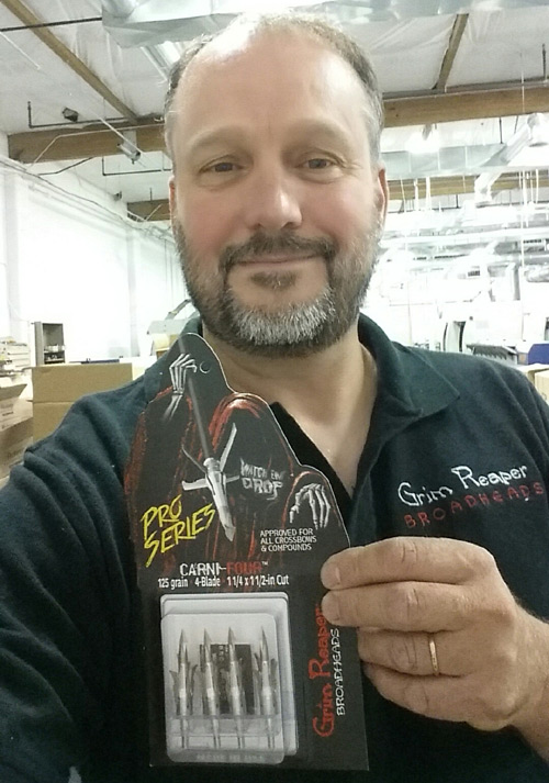 Grim Reaper Owner Jay Leichty proudly shows off his newest, most devastating broadheads yet.