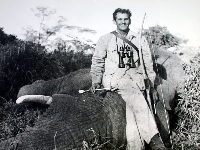 The Great Howard Hill with one of his many trophy animals taken with a long bow.