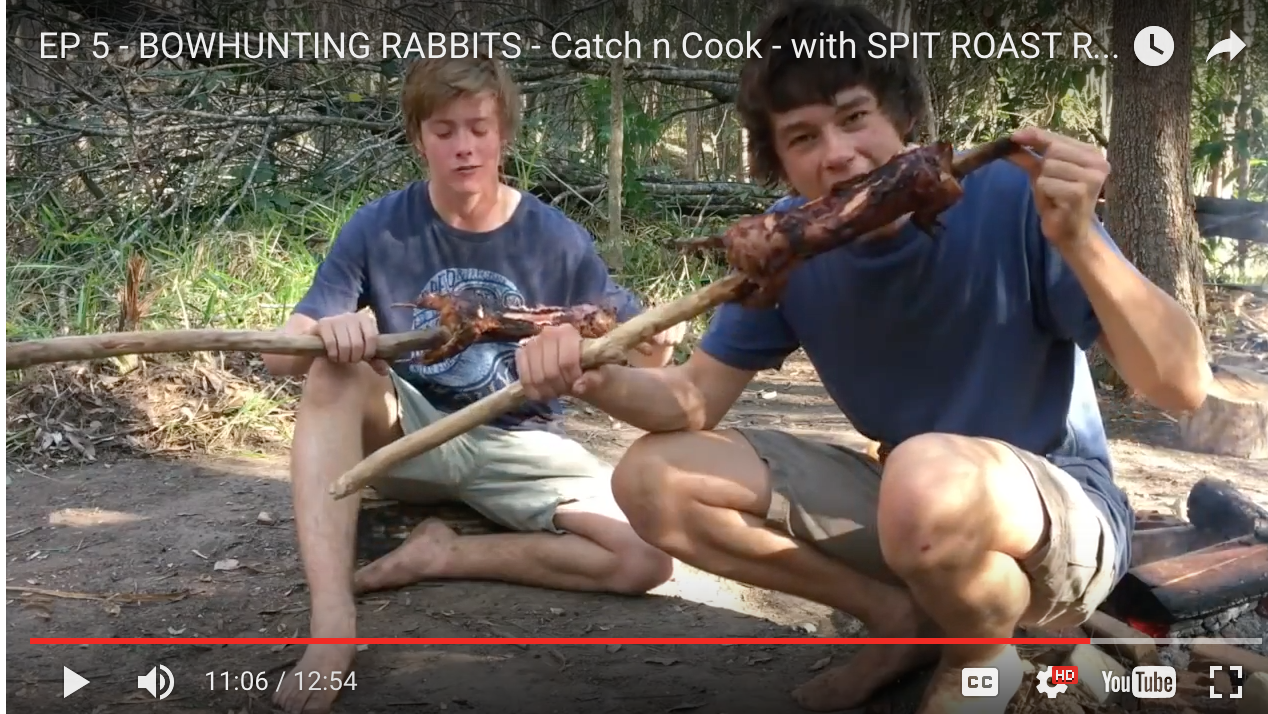 taradara bros bowhunts rabbits and roasts them on the campfire.