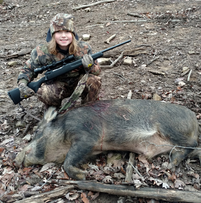 Abby with her boar.