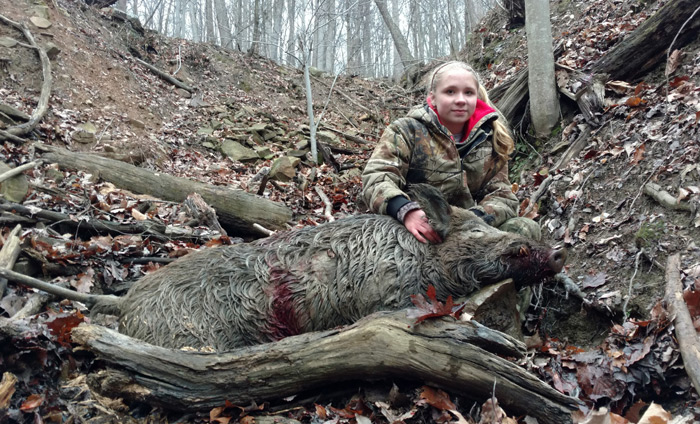 Madison not to be outdone dropped this nice boar making it three for three.