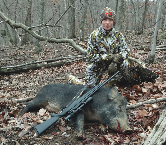 Son Sam is the second to take a nice boar.