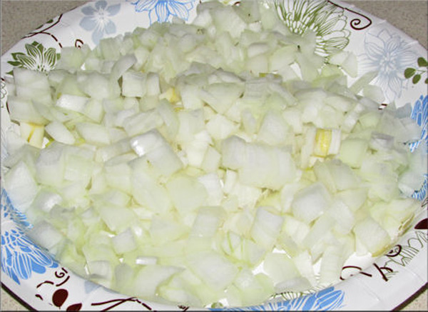 First thing I did was chop the onions... the least favorite thing to do so get it out of the way. LOL